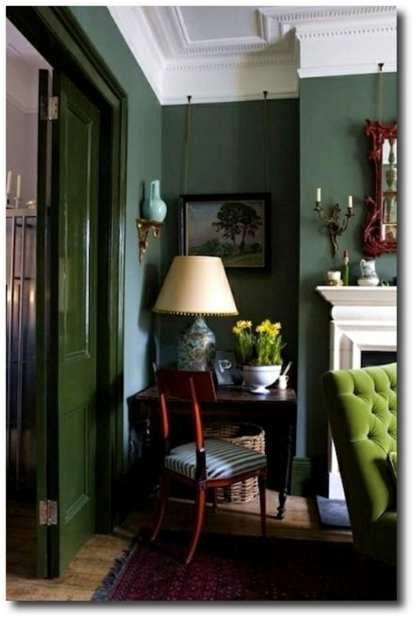 Wohnideen Wohnzimmer Natur Farben Wandgestaltung Smaragdgrn