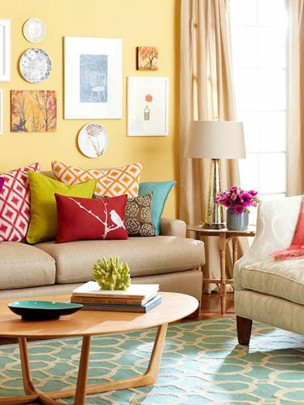 wohnideen für wohnzimmer farben wandgestaltung sofas tisch rund