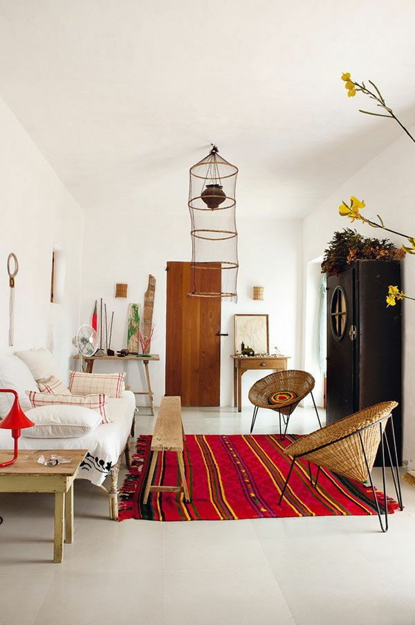 wohnzimmer einrichtungsideen rattan lounge möbel flechtstühle holzmöbel