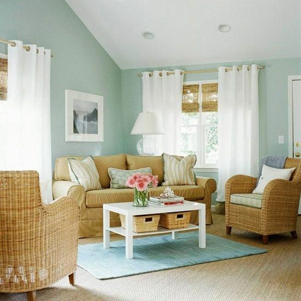 wohnzimmer einrichtungsideen rattanmöbel flechtsessel rattan teppich verlegen