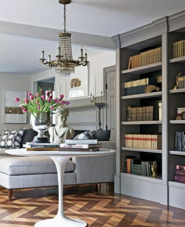 wohnzimmer gestalten möbel couchtisch rund deko ideen mit tulpen