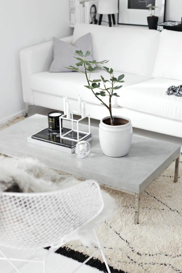 wohnzimmer modern skandinavisch einrichten couchtisch betonoptik