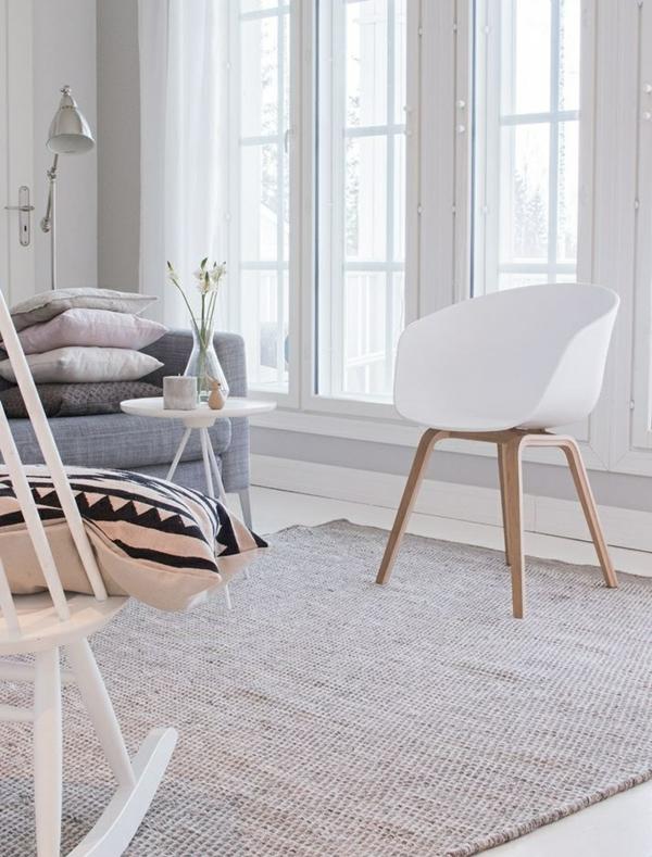 wohnzimmer modern skandinavisch einrichten couchtisch rund weiß