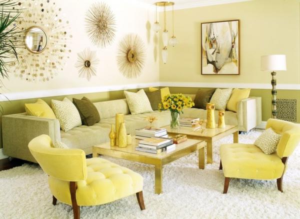 wohnzimmer wandfarbe eierschalenfarben farbpalette gelb grün