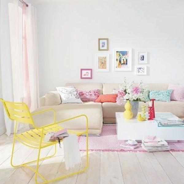 Wohnzimmergestaltung Ideen Bilder Design Gelb Stuhl 50 Helle  Wohnzimmereinrichtung Ideen ...