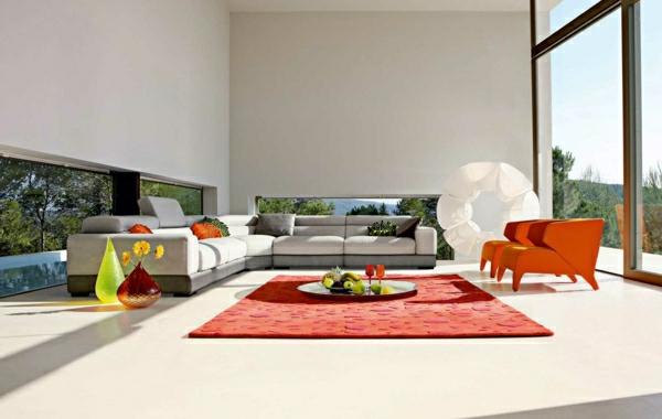 Wohnzimmer Gestaltung Ideen Bilder Design Orange Teppich