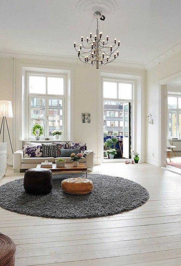 wohnzimmer einrichten ideen bilder design rund teppich läufer