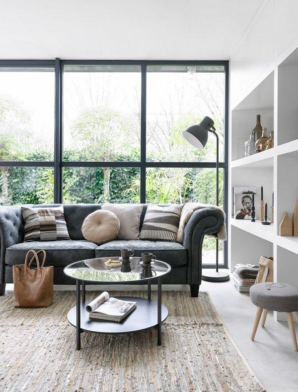 wohnzimmergestaltung ideen bilder design wandregale fenster