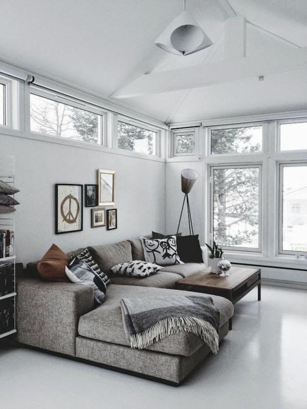 wohnzimmergestaltung ideen fenster sofa grau