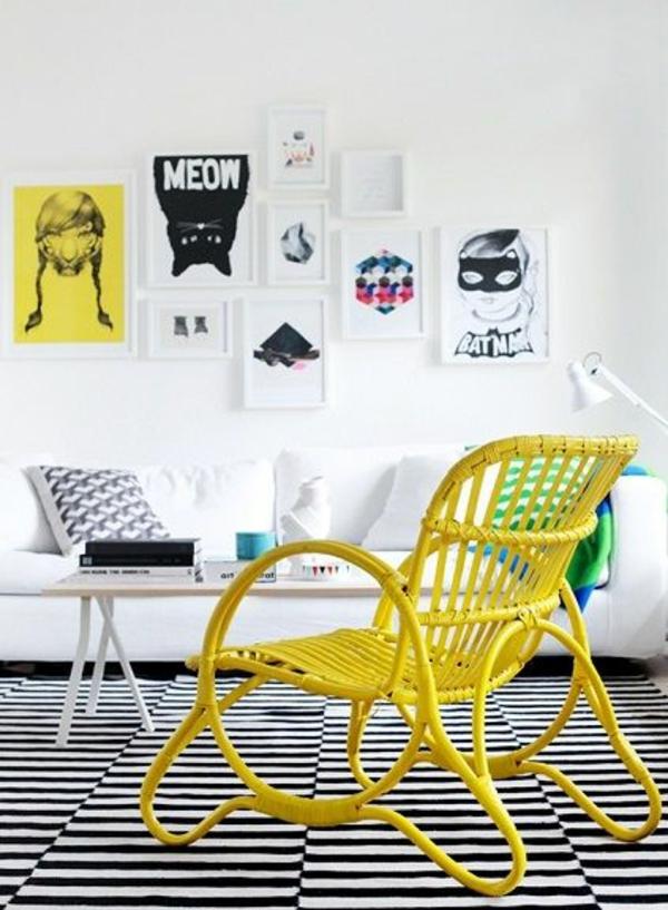 wohnzimmermöbel rattan lounge möbel flechtmöbel stuhl in gelb