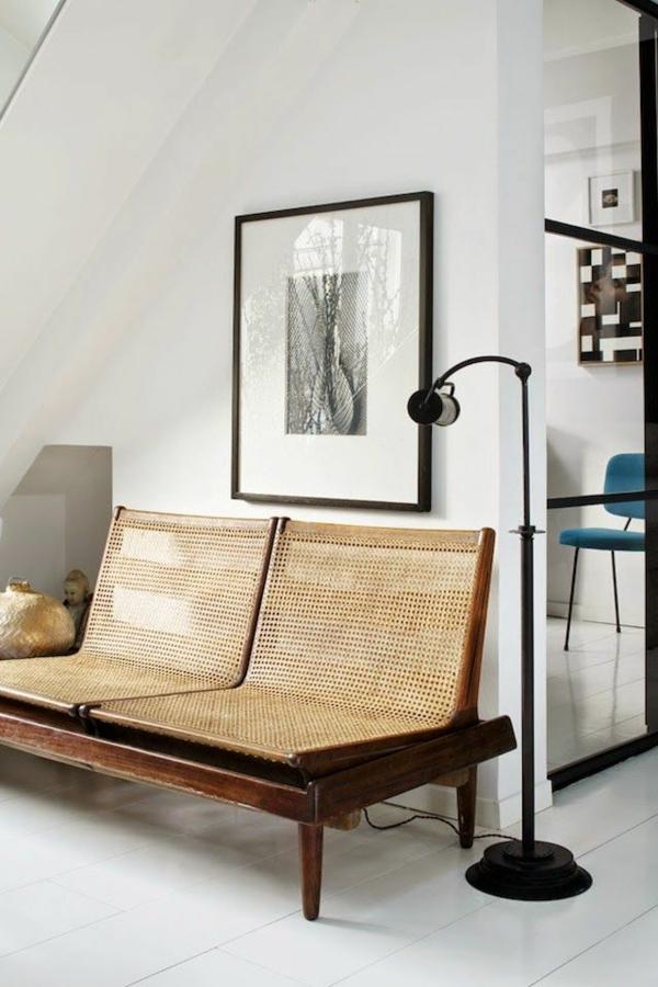 wohnzimmermöbel rattanmöbel flechtmöbel retro design sofa stehlampen