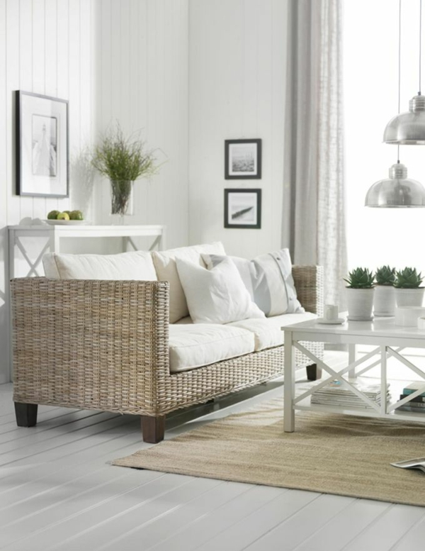 wohnzimmermöbel rattanmöbel sofa holz couchtisch rattanteppich