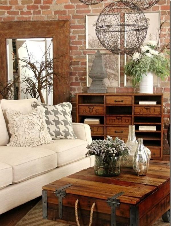 ziegelwand wohnzimmer rustikale möbel holz couchtisch selber machen