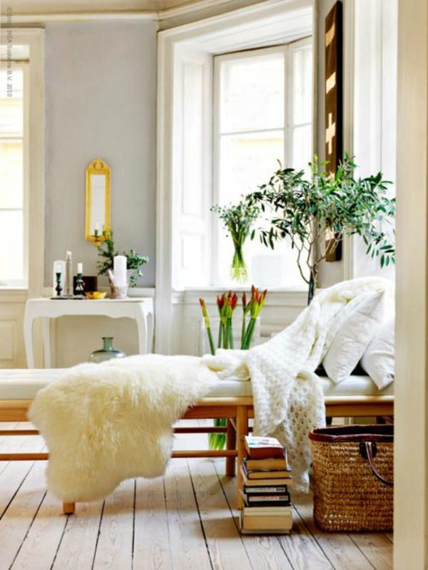 zimmerpflanzen feng shui schlafzimmer einrichten ideen fellauflage