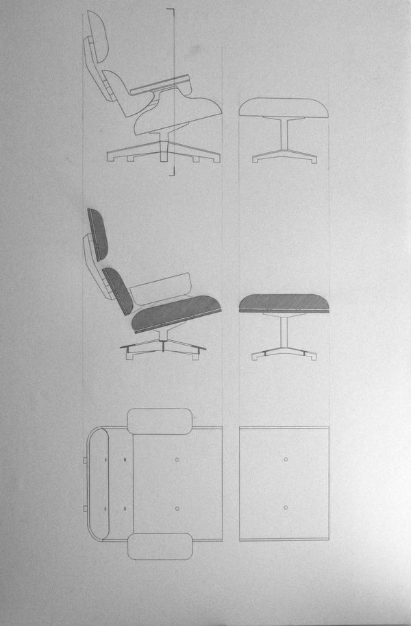 Charles Eames Lounge Chair designer sessel skizze