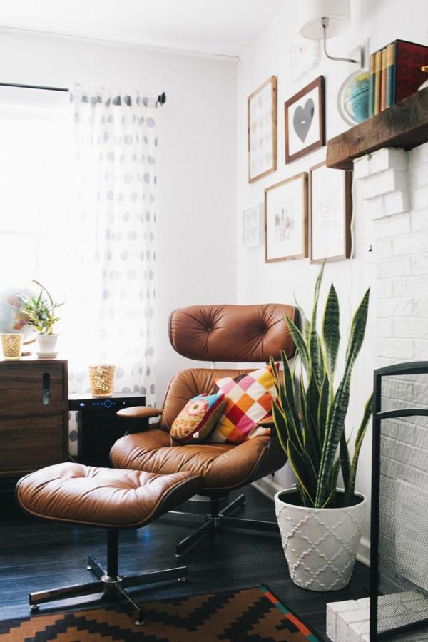 Charles Eames Lounge Chair ledersessel hanfbogen zimmerpflanze