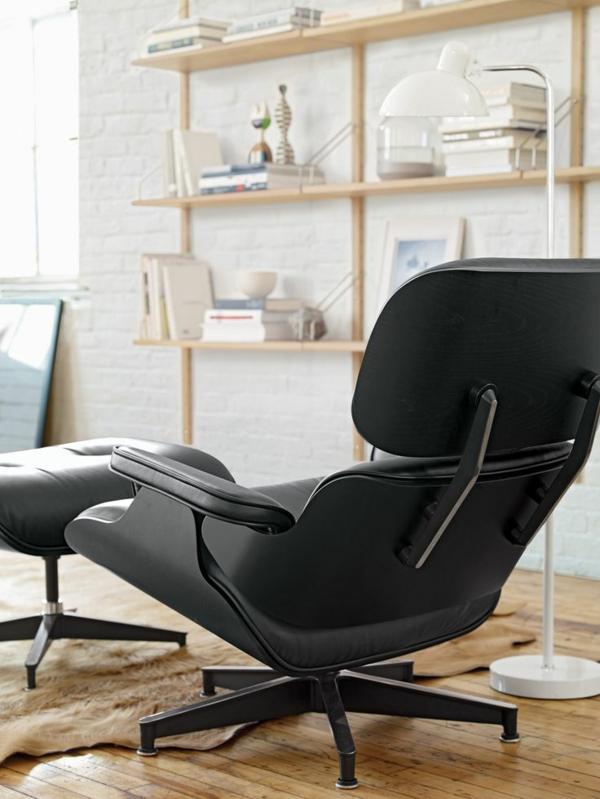 Charles Eames Lounge Chair Ledersessel Komplett Schwarz