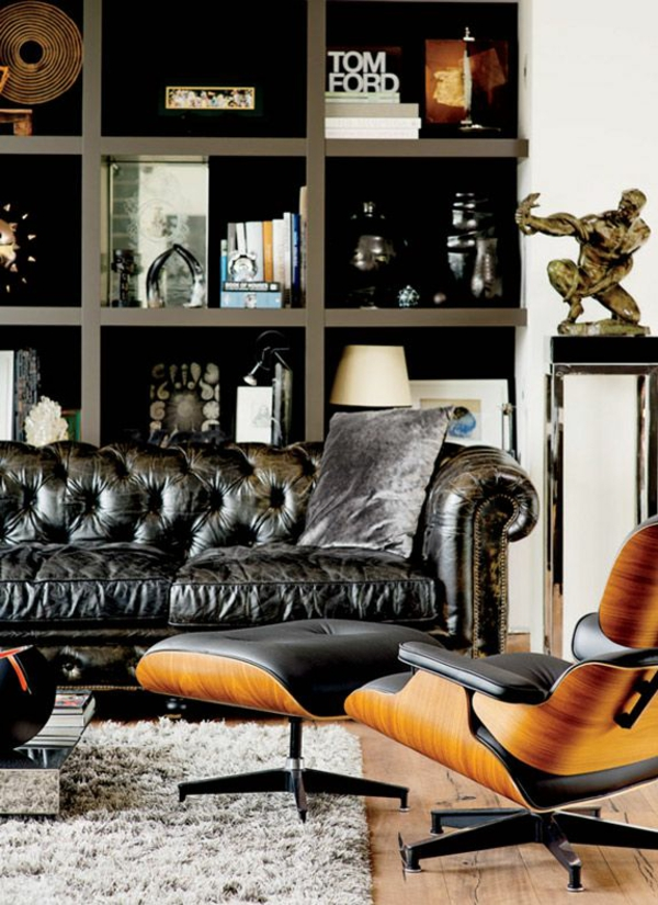 Charles Eames Lounge Chair wohnzimmermöbel ledersessel sofa schwarz