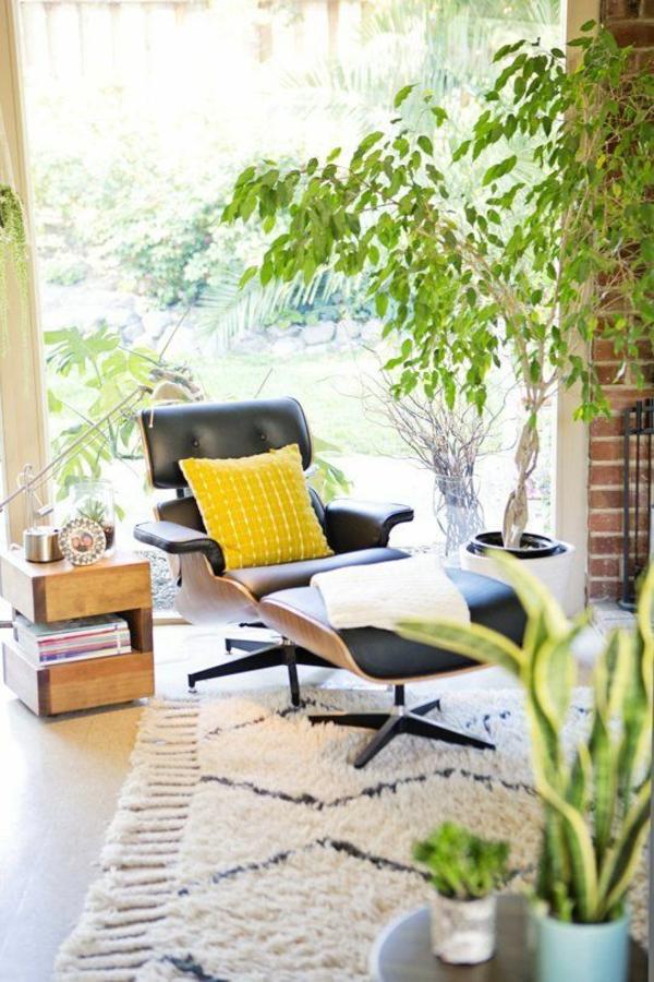 Eames Lounge Chair ledersessel zimmerpflanzen