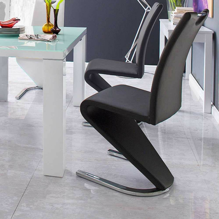 Freischwinger stühle Designer stühle Fabrica in Schwarz