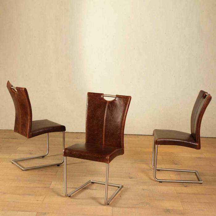 Freischwinger stühle Designer stühle Lederstuhl Fury in Braun