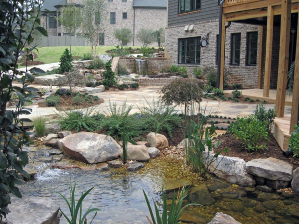 Gartengestaltungsideen traditionell steine