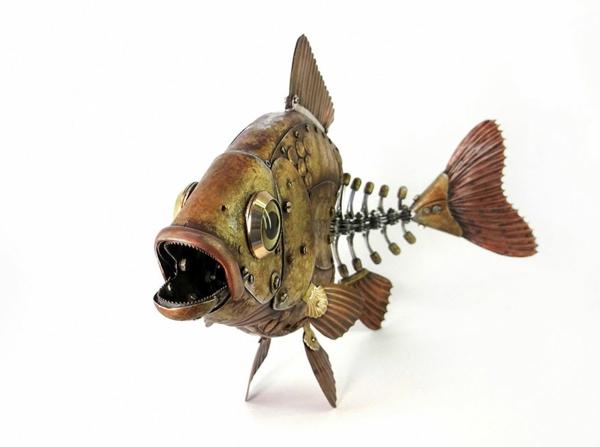 Motorrad Teile recyceln skulpturen fisch
