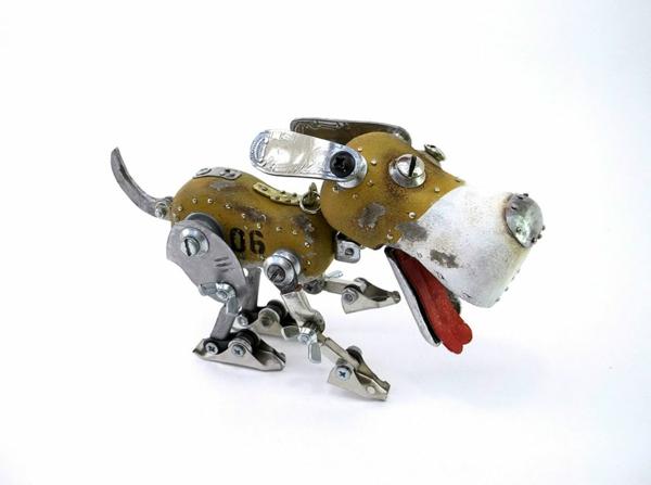 Motorrad Teile recyceln skulpturen hund
