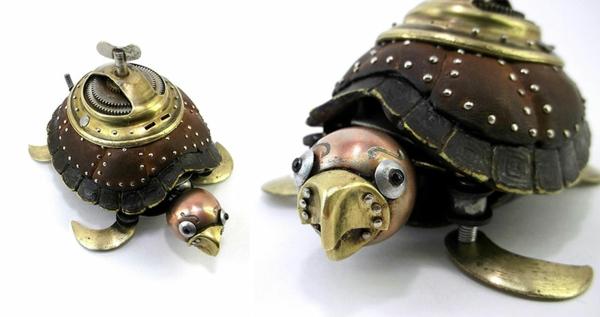 Motorrad Teile recyceln skulpturen schildkröte