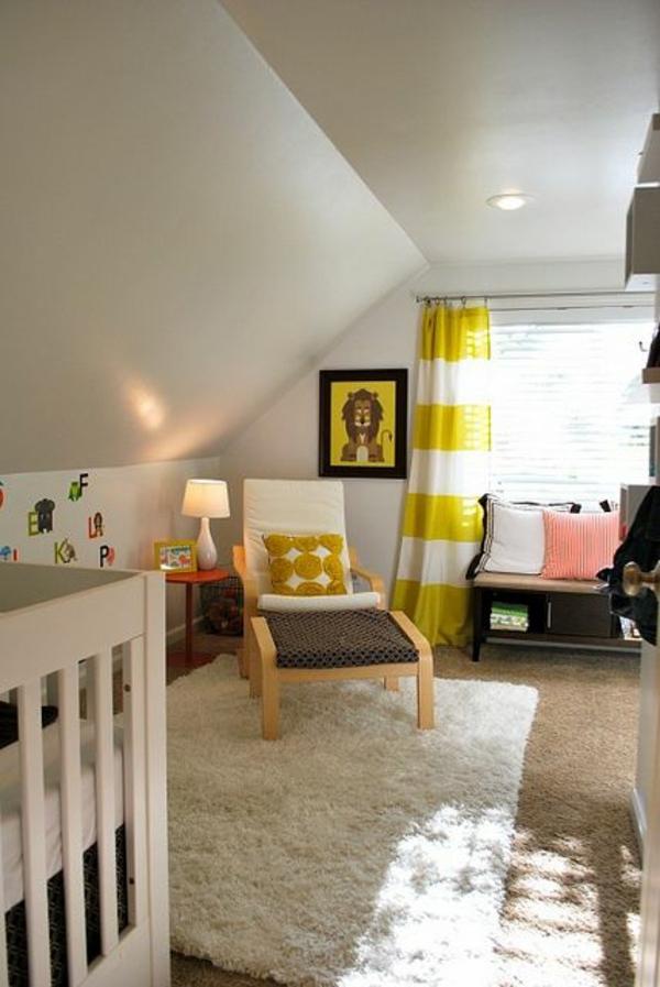 Kinderzimmer Gardinen gelb weiß streifen