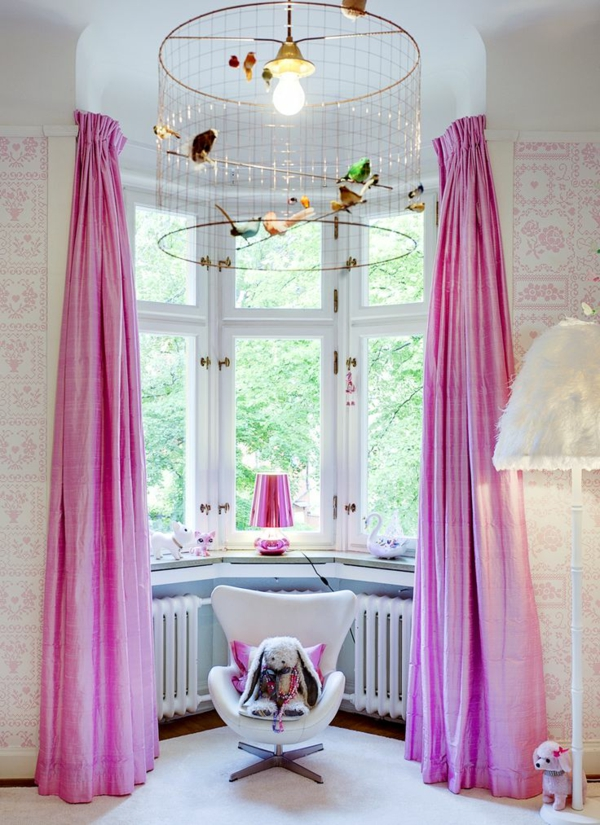 Kinderzimmer Gardinen lila mädchen