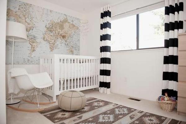 Kinderzimmer Gardinen schwarz weiß streifen