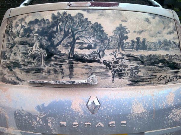 Kunst aus Staub autoscheiben landschaft