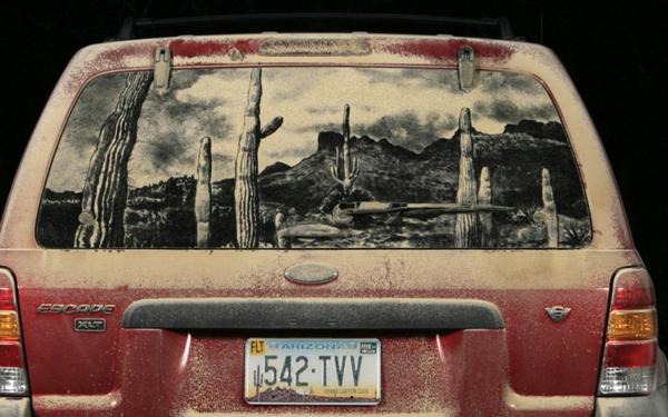 Kunst aus Staub autoscheiben wüste