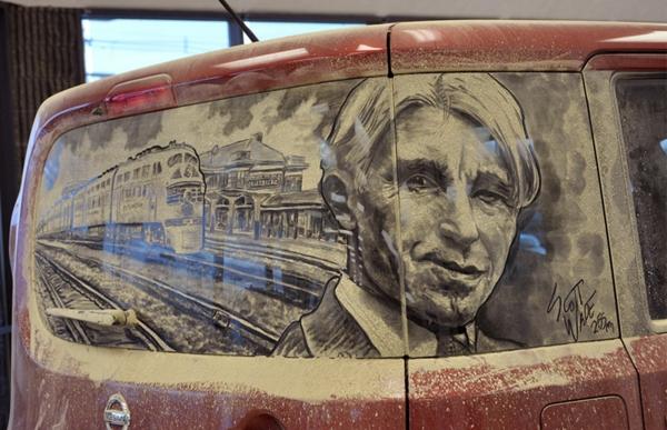Kunst aus schmutzige autoscheiben junge