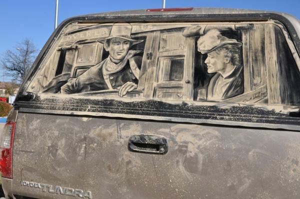 Kunst aus Staub schmutzige autoscheiben klassisch