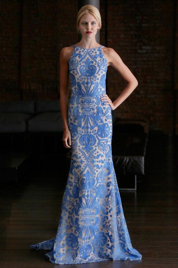 Lange  formal Abendkleider blau weiß muster