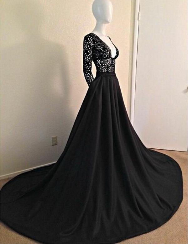 Lange ärmel Abendkleider breit schwarz
