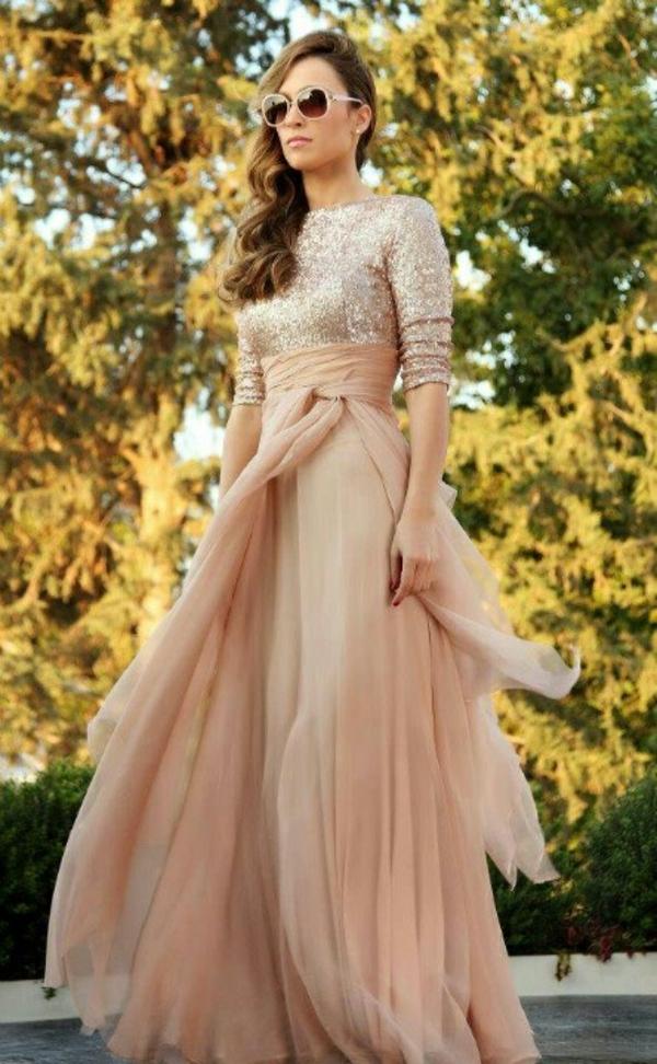 Abendkleider Lange  pfirisch farben rosa
