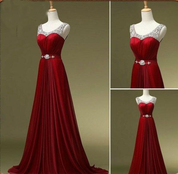 Lange Abendkleider rot griechisch stil