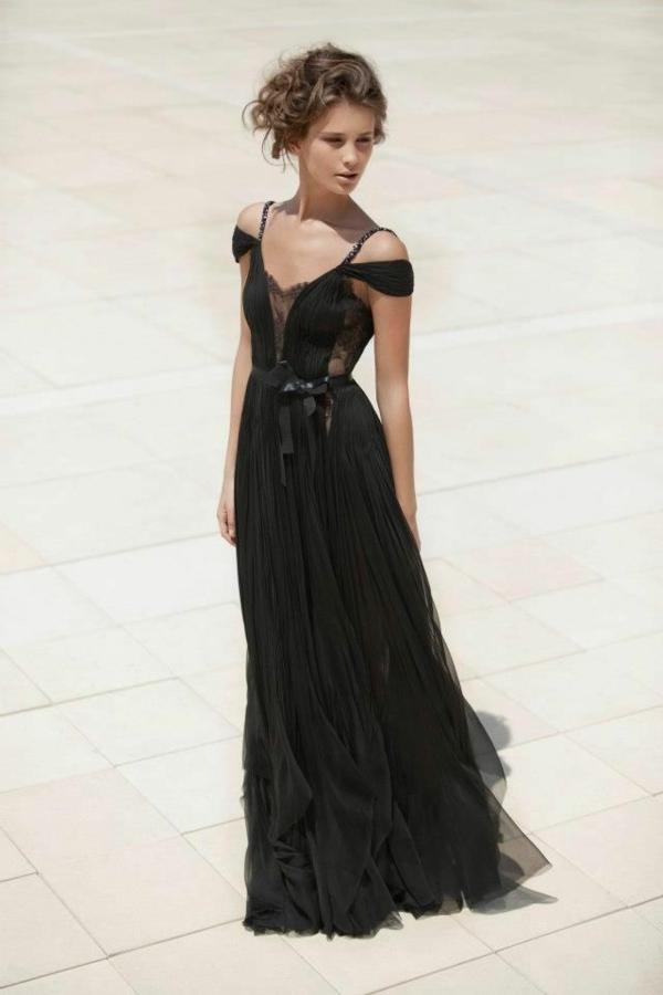 Abendkleider schwarz seide