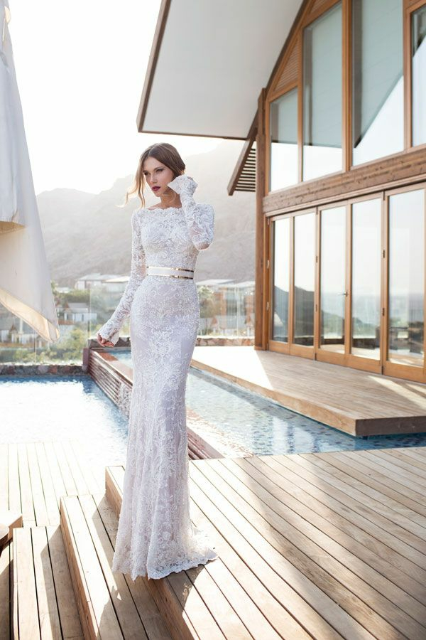 Lange Abendkleider weiß braut