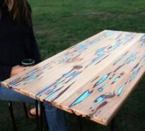 Gartentisch selber bauen fliesen  Gartentisch selbst bauen - DIY Holztisch aus Baumharz und Leuchtpulver