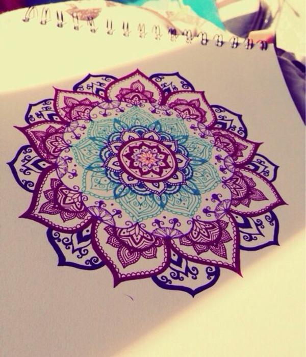 Mandala Vorlage lila blau farben