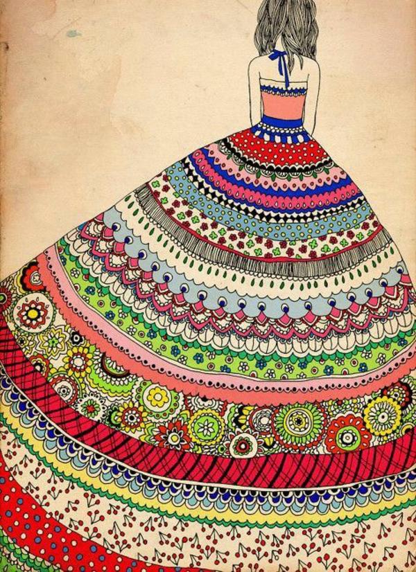 Mandala Vorlagen muster kleid