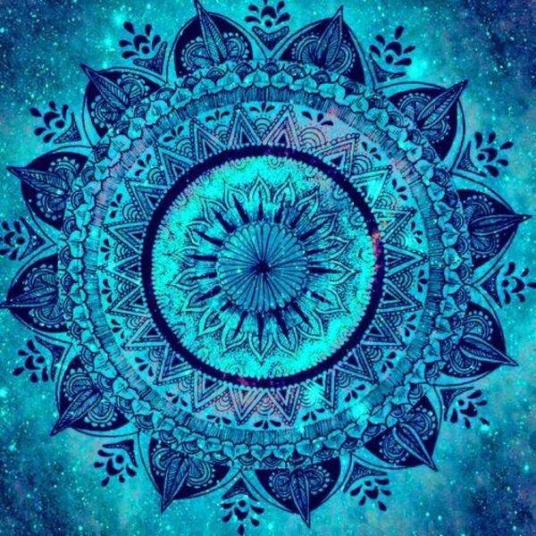 Mandala zum Ausdrucken blau schein