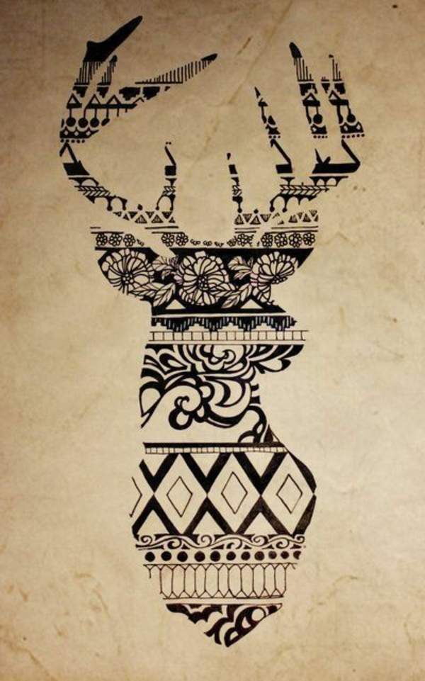 Mandala zum Ausdrucken hirsch wald