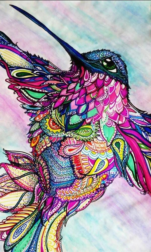 Mandala zum Ausmalen vogel bunt