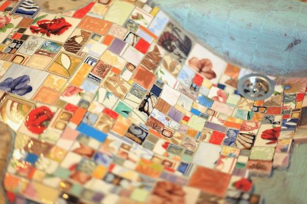 Mosaik kiefer Holzspüle design schön