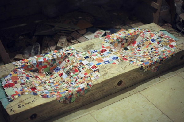 Mosaik Holzspüle designen diy selber machen